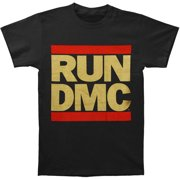 Run DMC Men's  Gold Glitter Logo T-shirt Black