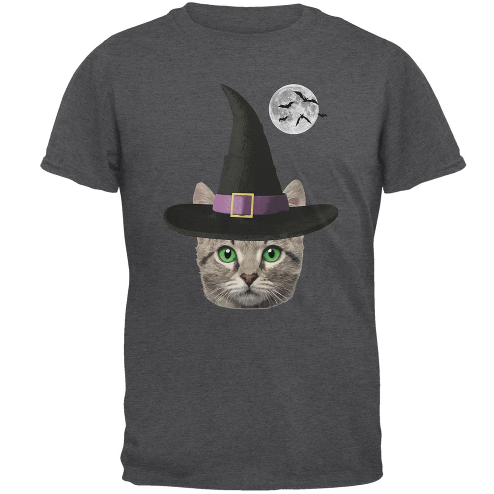 Halloween Funny Cat Witch Dark Heather Adult T Shirt