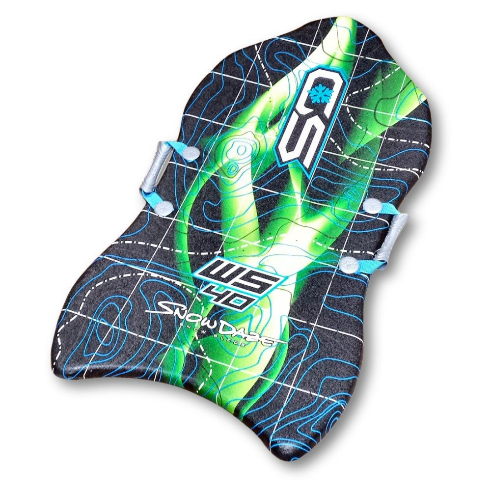 "Snow Daze Warp Speed Green Smoke 40"" Slick Bottom Foam Snow Sled by"