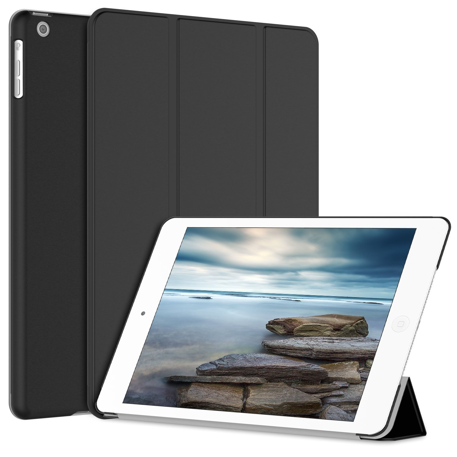 SuprJETech iPad Air Case Slim-Fit Smart Case Cover for Apple ipad air 1 with Auto Sleep/Wake Feature (Black)