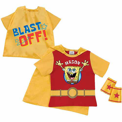 Personalized SpongeBob SquarePants Blast Off Toddler Boy Red Super Tee and Cuffs
