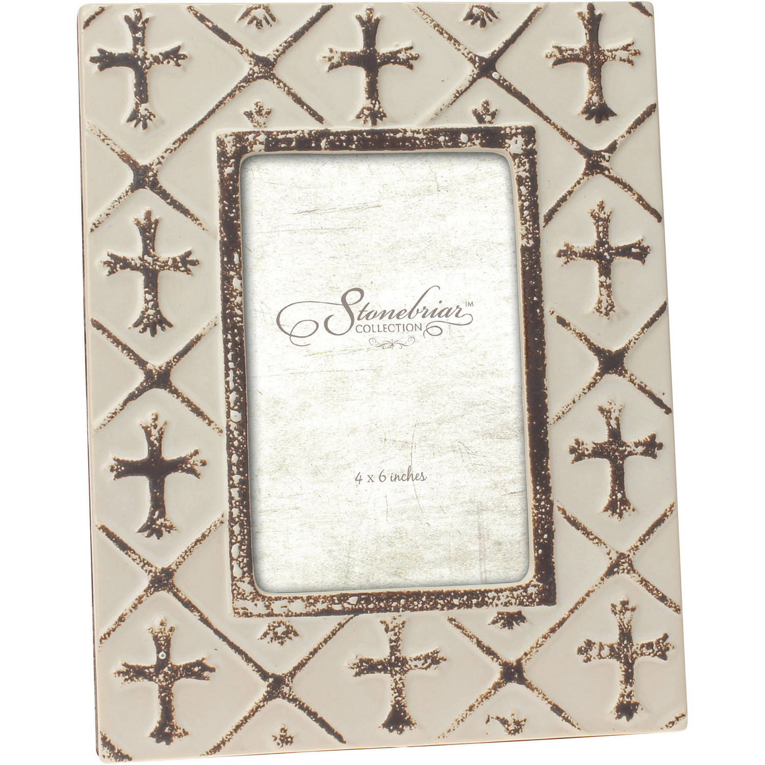 "Ceramic Worn White Finish Cross 4"" x 6"" Photo Frame"