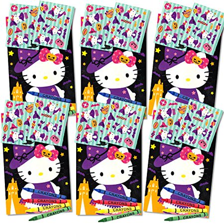 Hello Kitty Halloween Play Packs for Kids ~ Set of 6 Packs Filled with Stickers, Mini Coloring Book and Crayons (Party Supplies, Party - Hello Kitty Makeup For Halloween