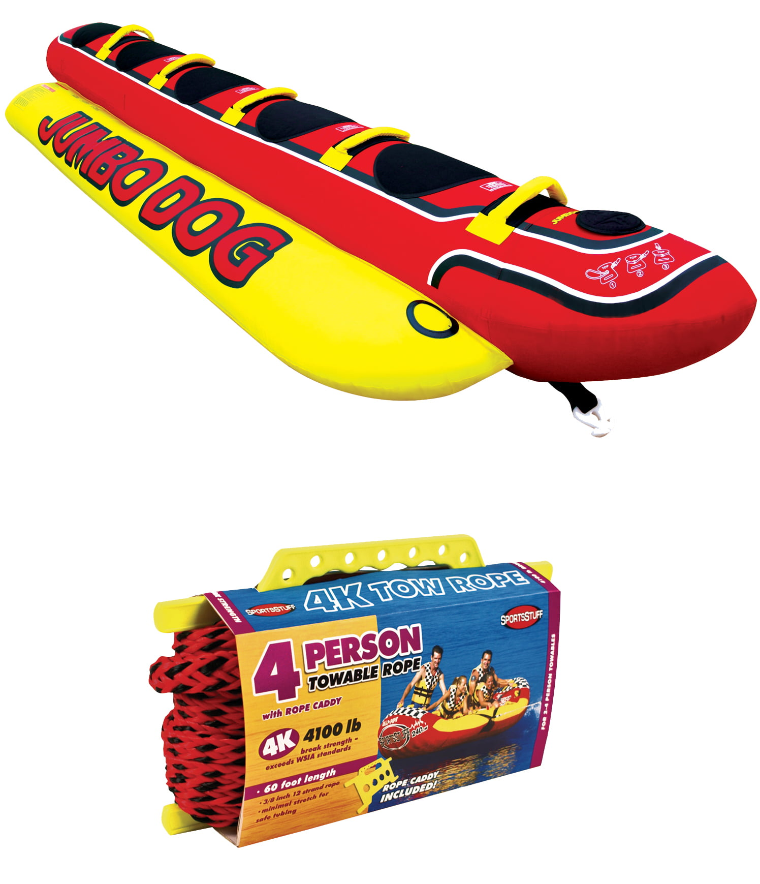 AIRHEAD HD-5 Jumbo Hot Dog 5-Person Rider Inflatable Towable Tube w  Tow Rope by Kwik Tek