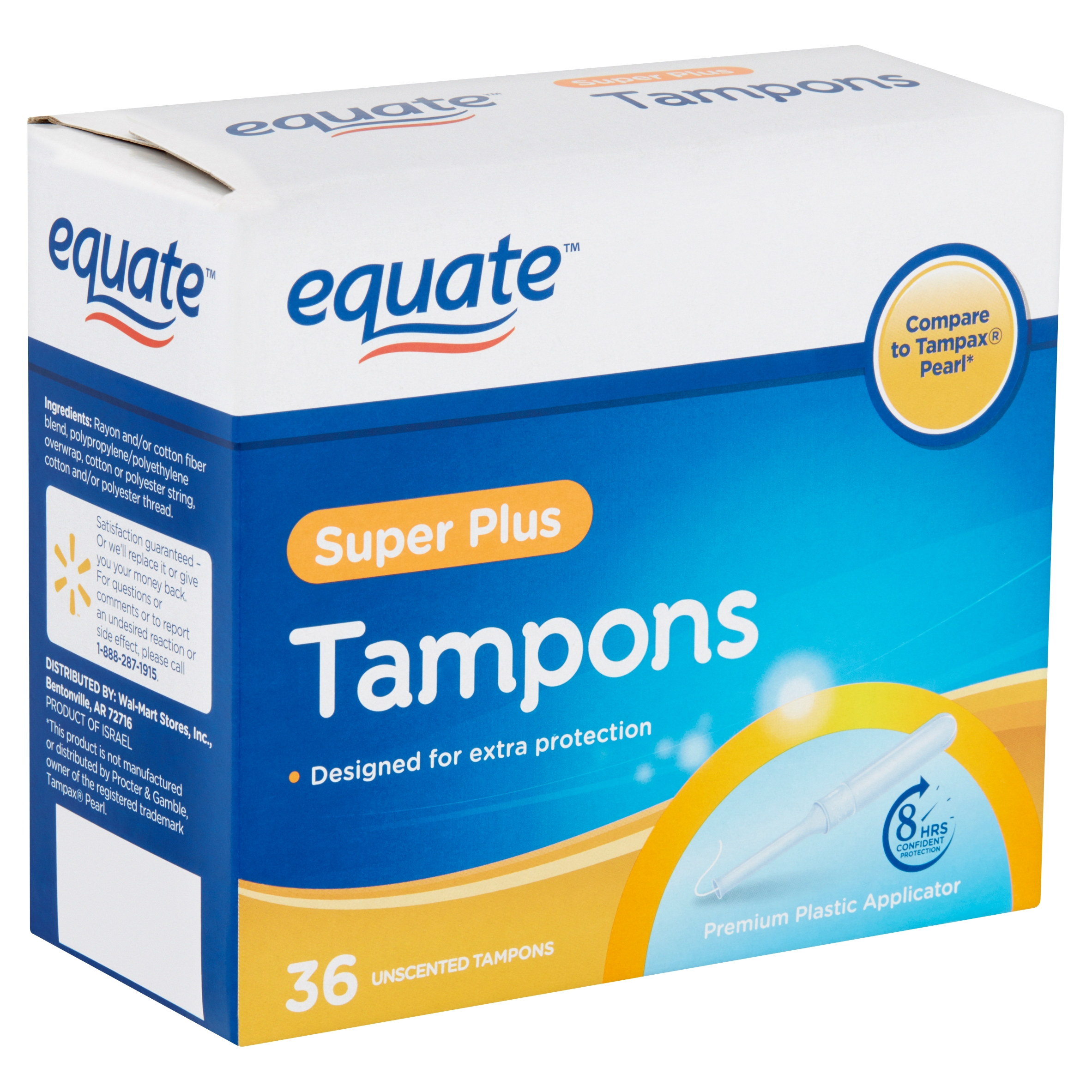 Equate Super Plus Unscented Tampons, 36 count