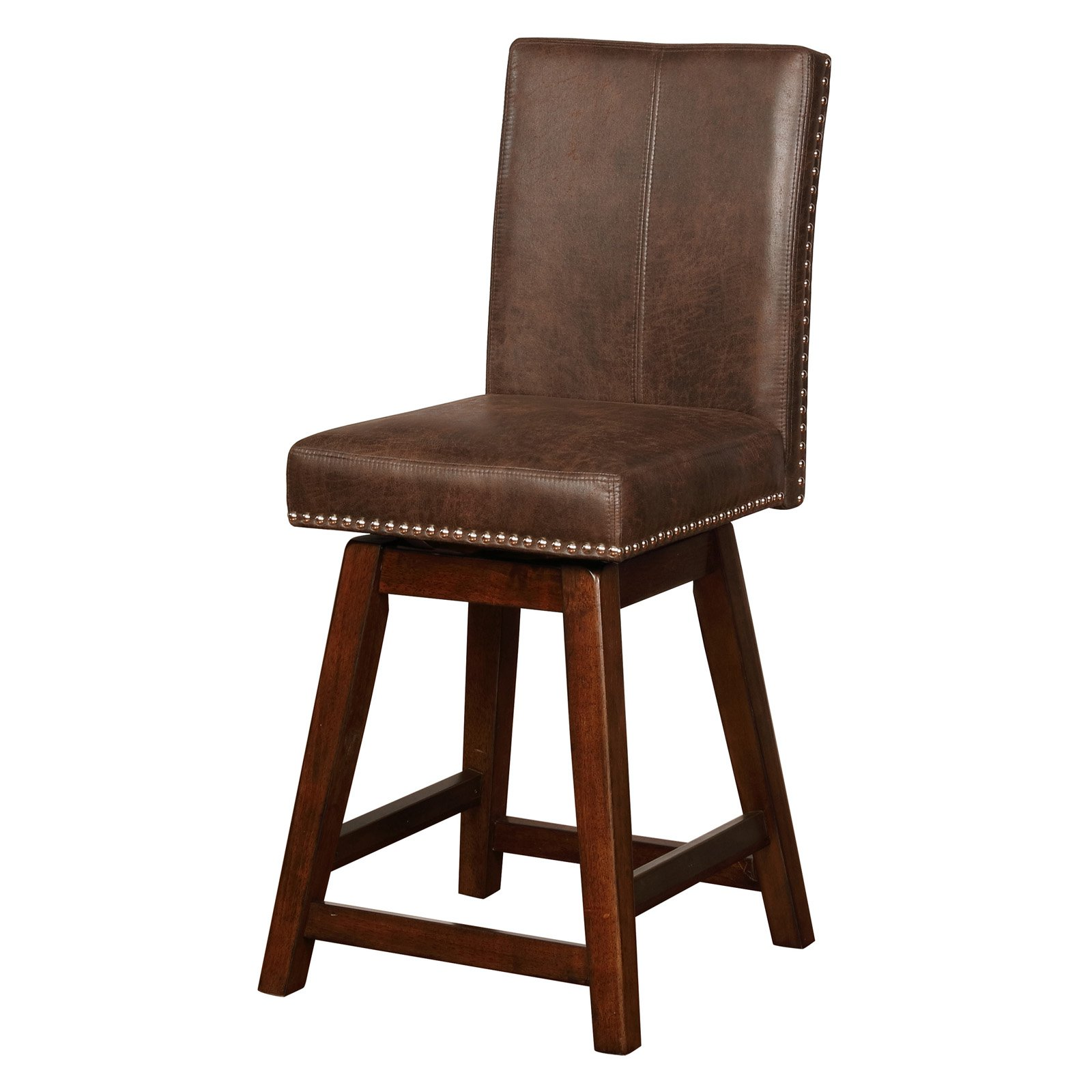 Linon Cedar Wood Swivel Counter Stool Brown 26 Inch Seat Height