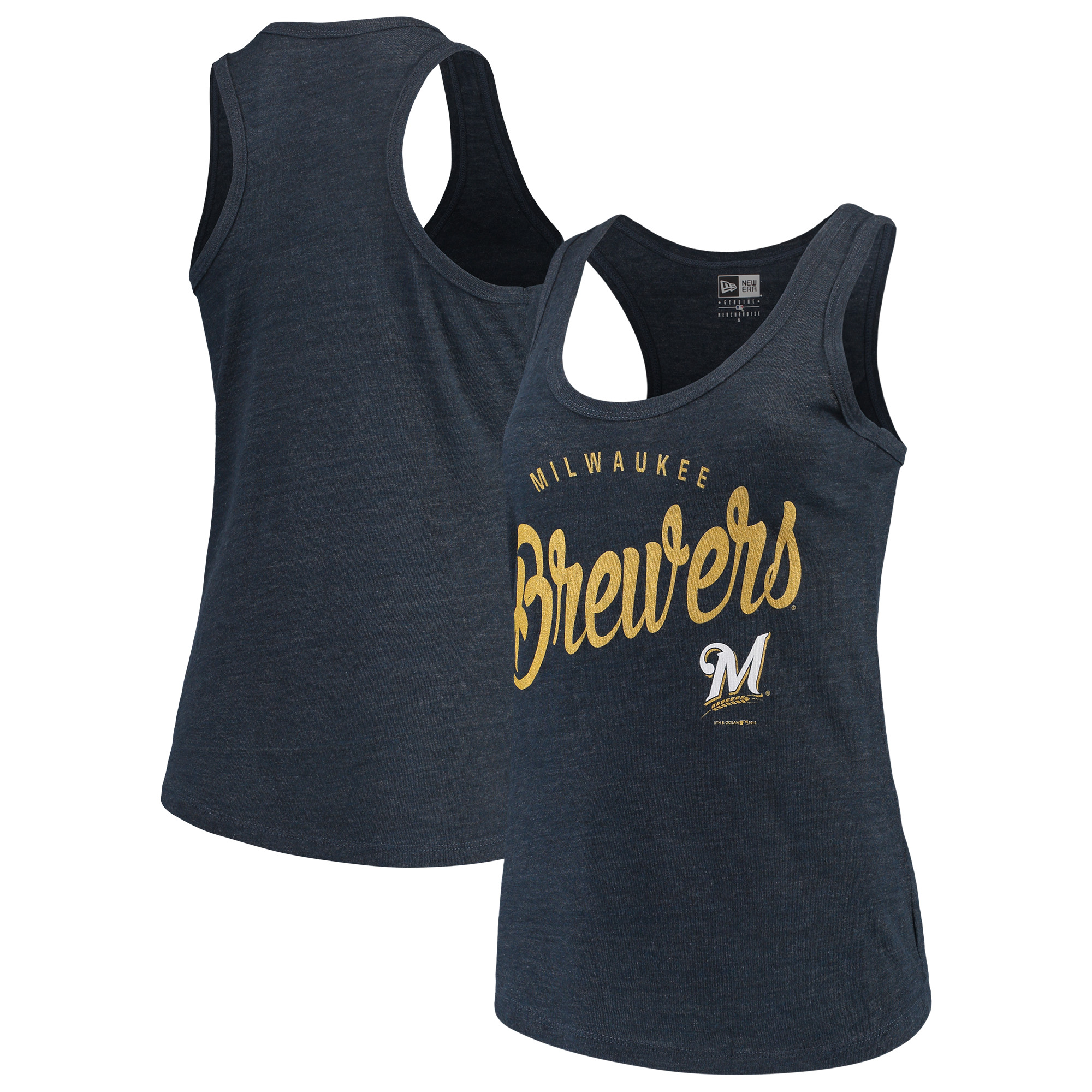 Milwaukee Brewers 5th & Ocean by New Era Women's Tri-Blend Racerback Tank Top - Navy