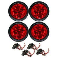 "Set of 4 Red 4"" Round 10 LED Trailer Light Kits - 24003"