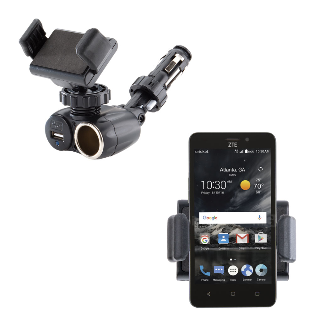 Dual USB / 12V Charger Car Cigarette Lighter Mount and Ultra Compact Holder for the ZTE Sonata 3
