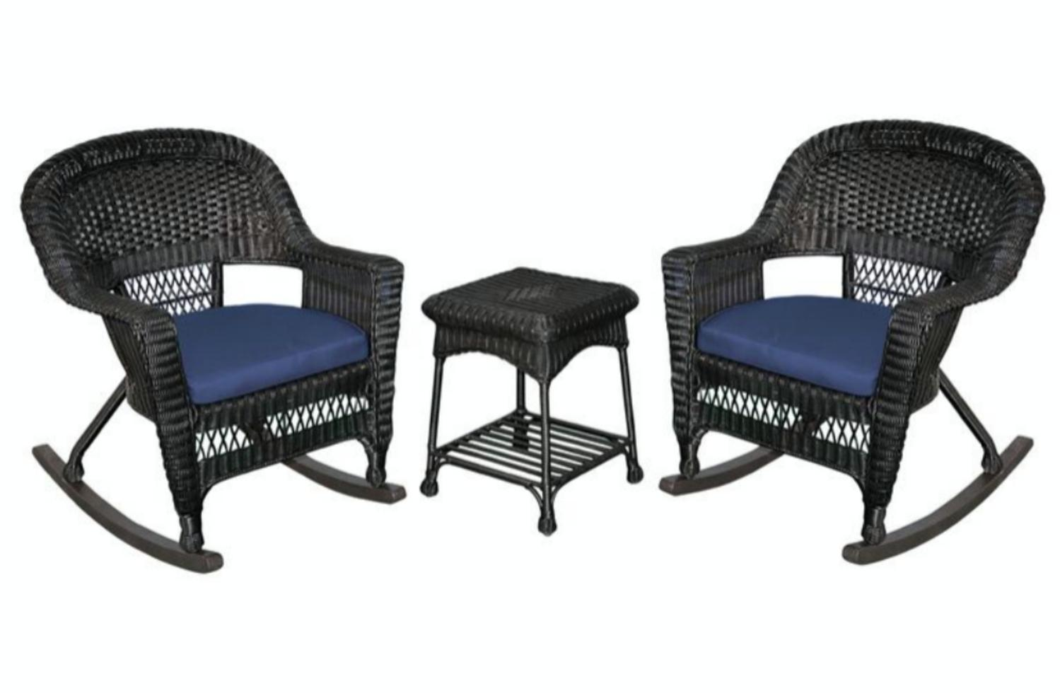3 Piece Black Resin Wicker Patio Chairs And End Table Furniture Set Orange Cushions