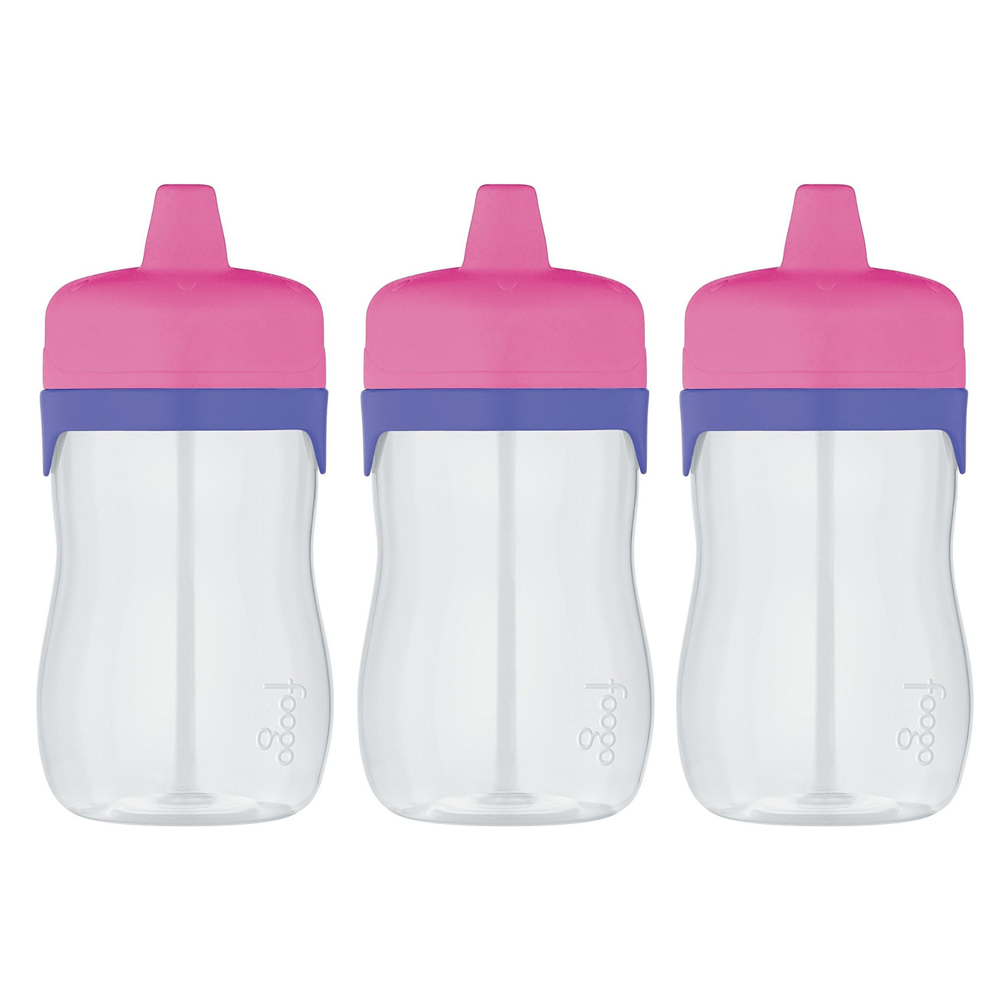 Thermos Foogo 11-Ounce Hard Spout Sippy Cup 3-Pack Bundle (Pink/Purple)