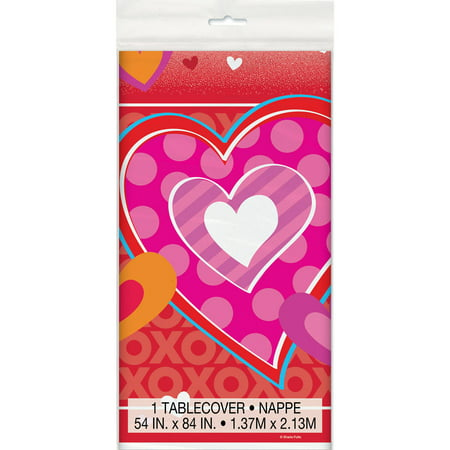 Plastic I Heart Valentine's Day Table Cover, 84