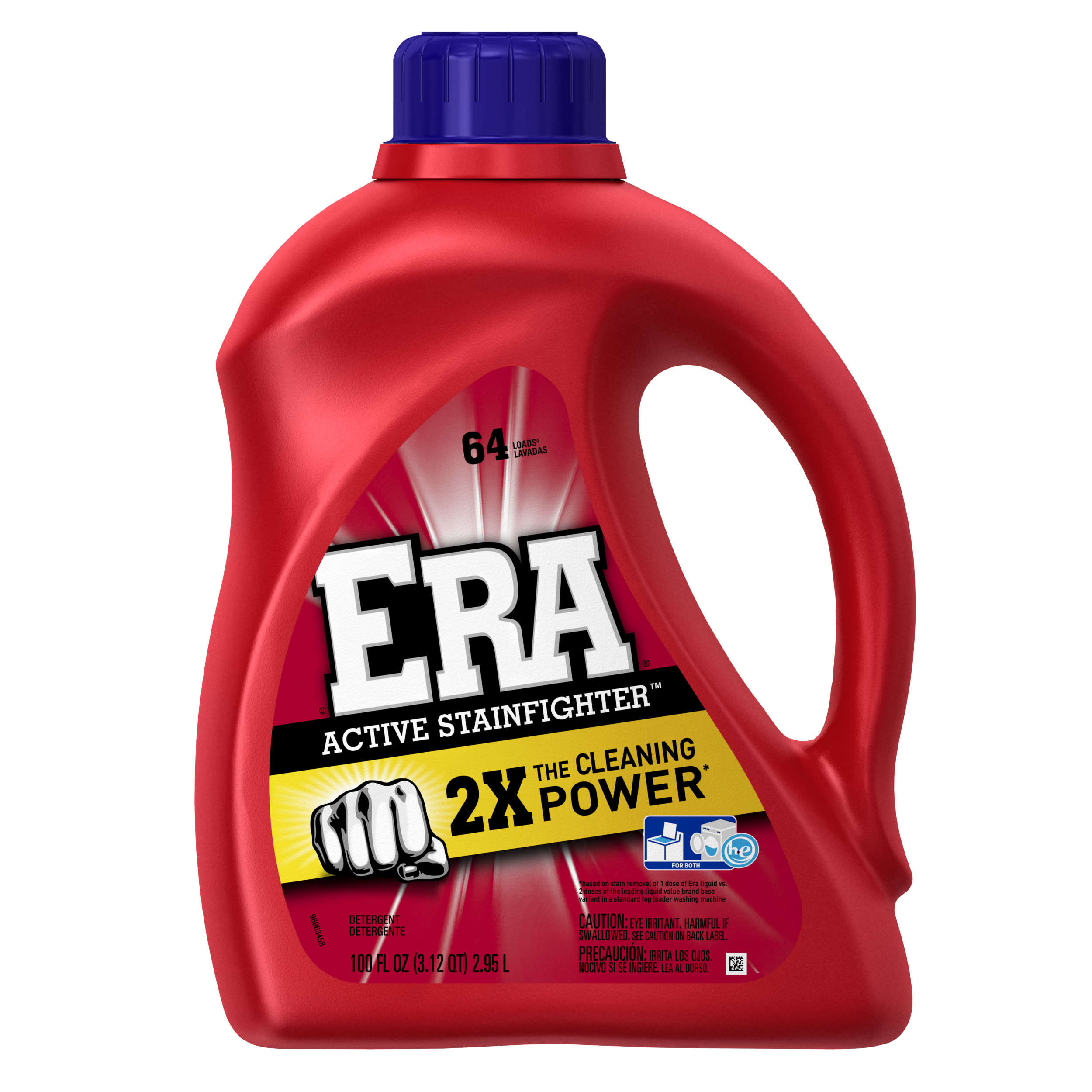 Era 2X Ultra Active Stainfighter Formula Regular Liquid Detergent 64 Loads 100 Fl Oz