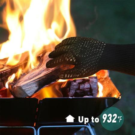 BBQ Grilling Gloves Heat Resistant 923?F Cooking Gloves Hot Food Gloves Anti-Slip Aramid Fiber - image 2 de 6