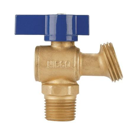 NIBCO QT74X Boiler Drain Valve, 1/2 Inch, Cup/MNPT x Hose, 125 psi CWP at 100 deg F, 2-5/8 Inch Open Length