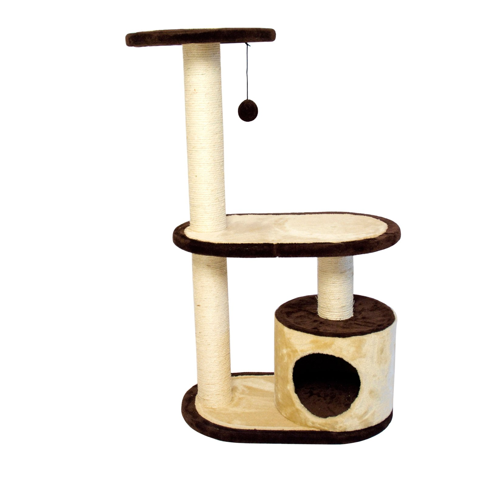 Iconic Pet 3-Tier Cat Tree Condo with Multiple Posts, Beige/Brown