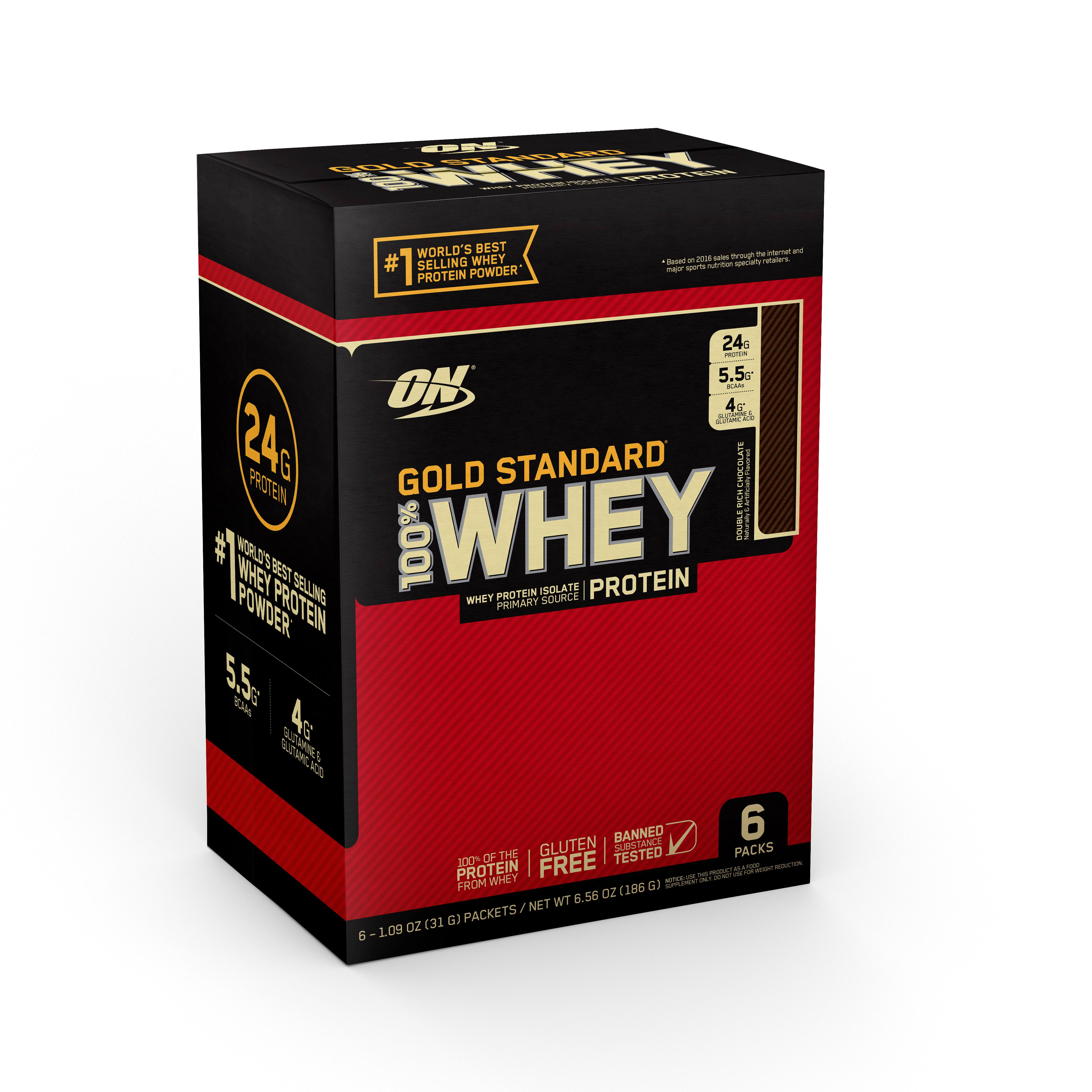 Optimum Nutrition Gold Standard 100% Whey Protein Powder, Double Rich Chocolate, 6 servings