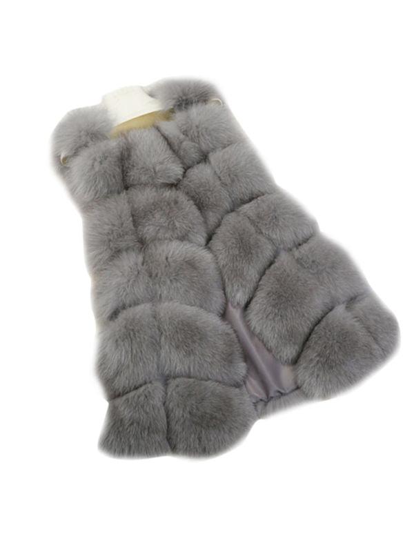 Women Faux Fur Gilet Vest Winter Warmer Sleeveless Waistcoat Jacket Coat Outwear
