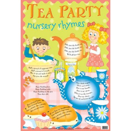 Laminated Tea Party Nursery Rhymes Educational Chart Poster... Laminated
