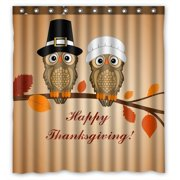Gckg Owl Thanksgiving Day Waterproof Polyester Shower Curtain Bathroom Deco 66x72 Inches