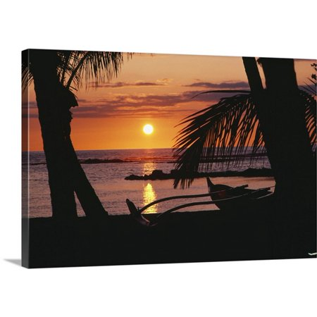 Great Big Canvas Allan Seiden Premium Thick Wrap Canvas Entitled Hawaii  Big Island  Outrigger Canoe Resting On A Tropical Beach