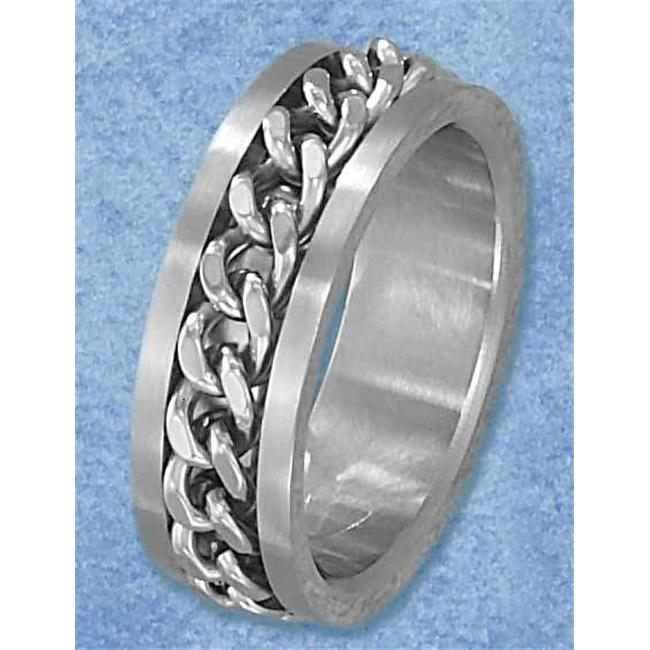 Plum Island Silver SR-3096-11 Stainless Steel Mens 8mm Curb Chain Spinner Band - Size 11