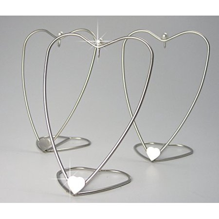 Heart Shaped Ornament Display Stand Home Decorative Displayer Brushed Silver Metal Wire - 5 Inch - Pack of (Shaped Ornament)