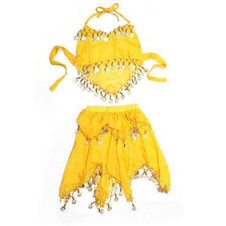 TopTie Kid's Belly Dance Pull-On Skirt & Halter Top Set, Halloween Costumes-Yellow-M