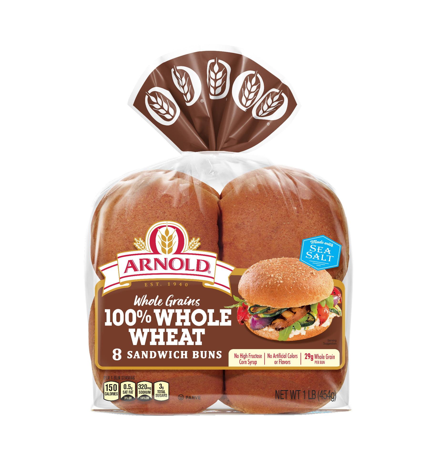 Arnold Whole Grains 100% Whole Wheat Sandwich Buns, 8 Buns, 16 oz