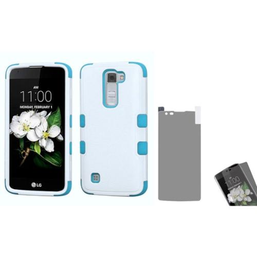 Insten Tuff Hard Hybrid Rubber Silicone Cover Case For LG K7 - White/Blue (with Anti-Glare Screen Protector)
