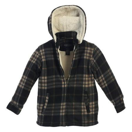 Gioberti Boys Black Tan Plaid Sherpa Lined Hooded Flannel Jacket (Tan Sherpa)