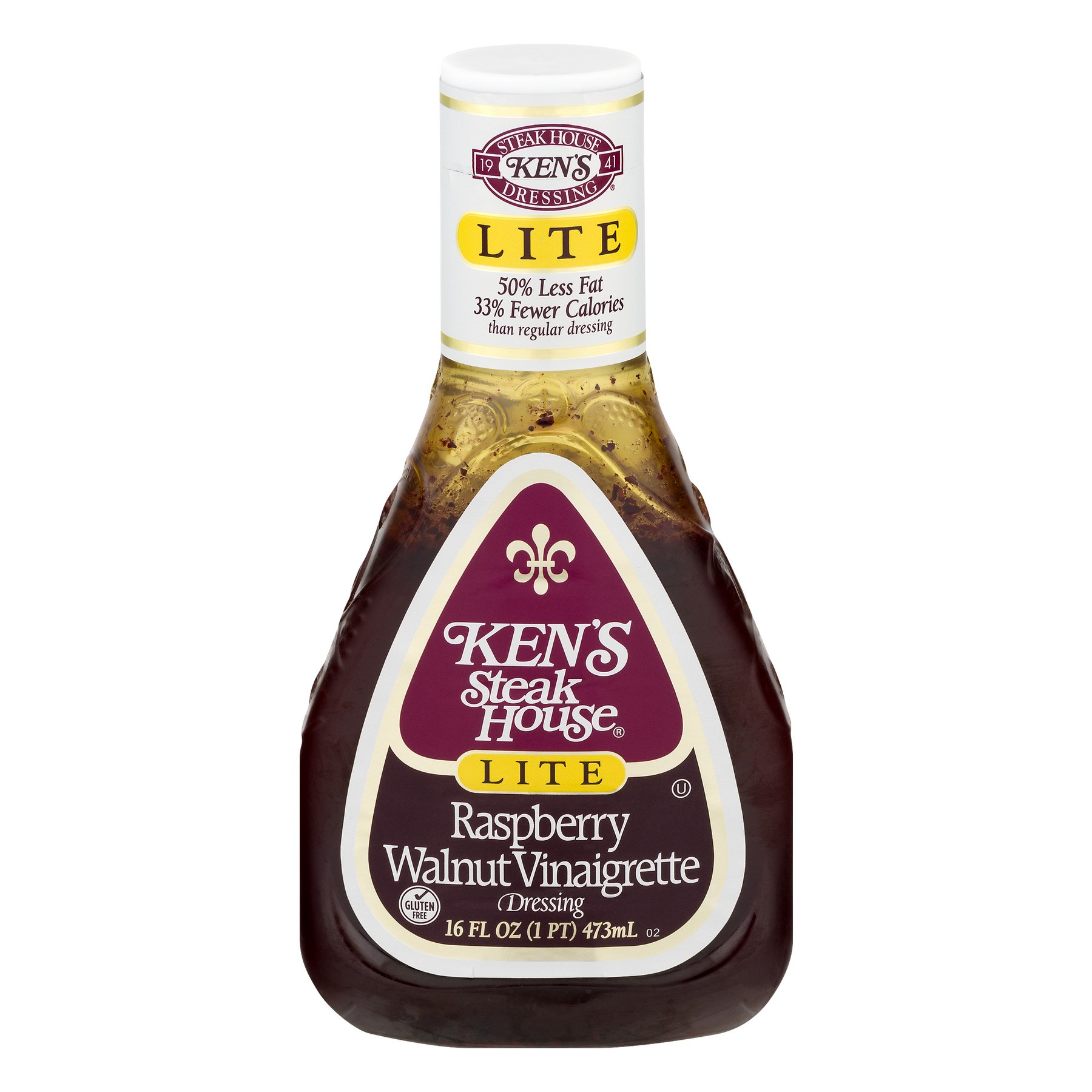 (3 Pack) Ken's Steak House Raspberry Walnut Vinaigrette Dressing Lite 16 Oz Plastic Bottle