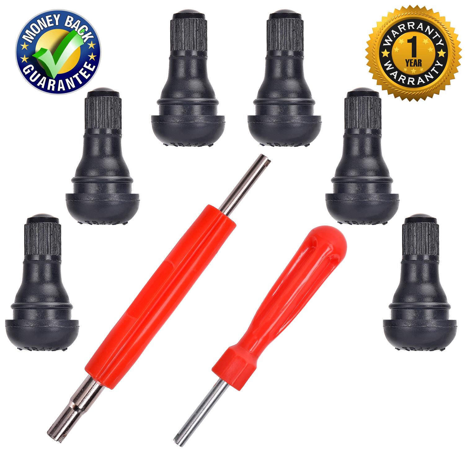 "DCFlat Snap-In Short Black Rubber Valve Stem TR412 TR412 for Tubeless 0.453/"" Inch 11.5mm Rim Holes on Standard Vehicle Tire 8-Pack"