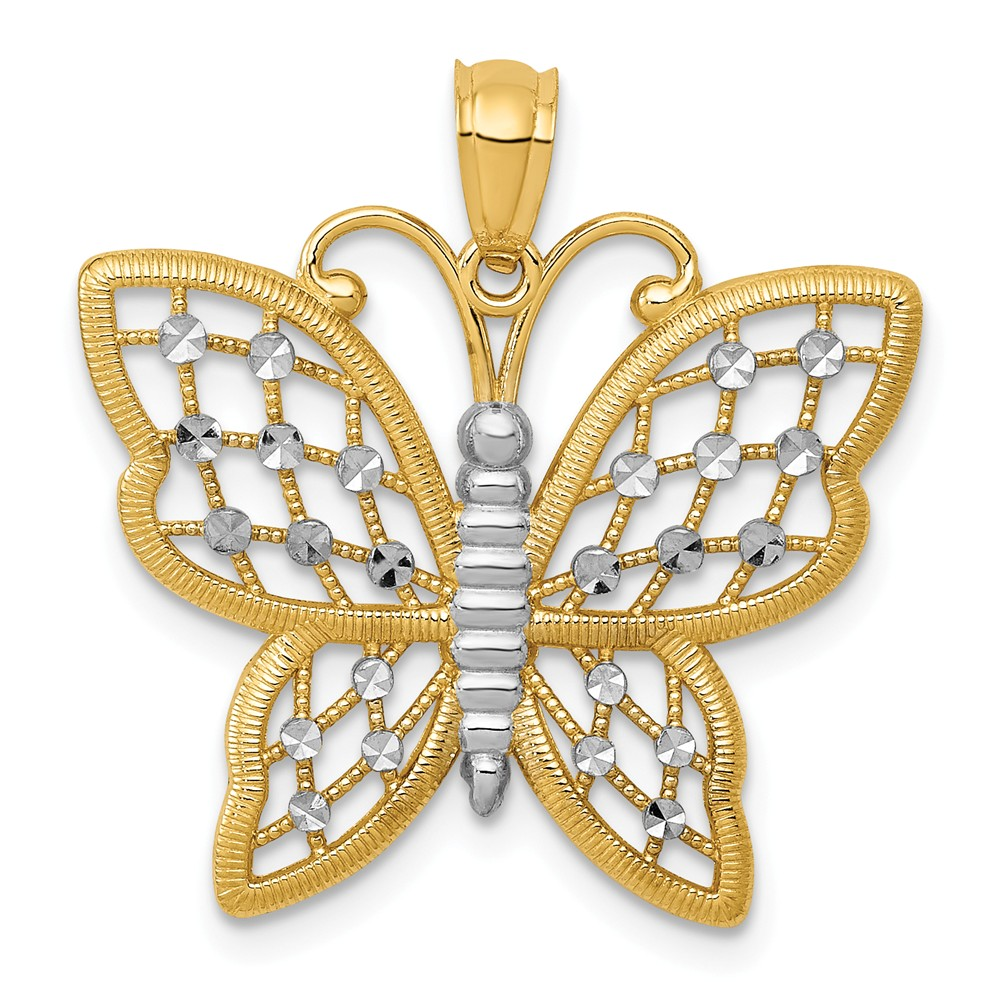 14K Yellow Gold and Rhodium D/C Butterfly Pendant