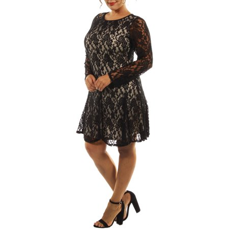 24/7 Comfort Apparel Women's Lace and Fire Plus Midi Dress