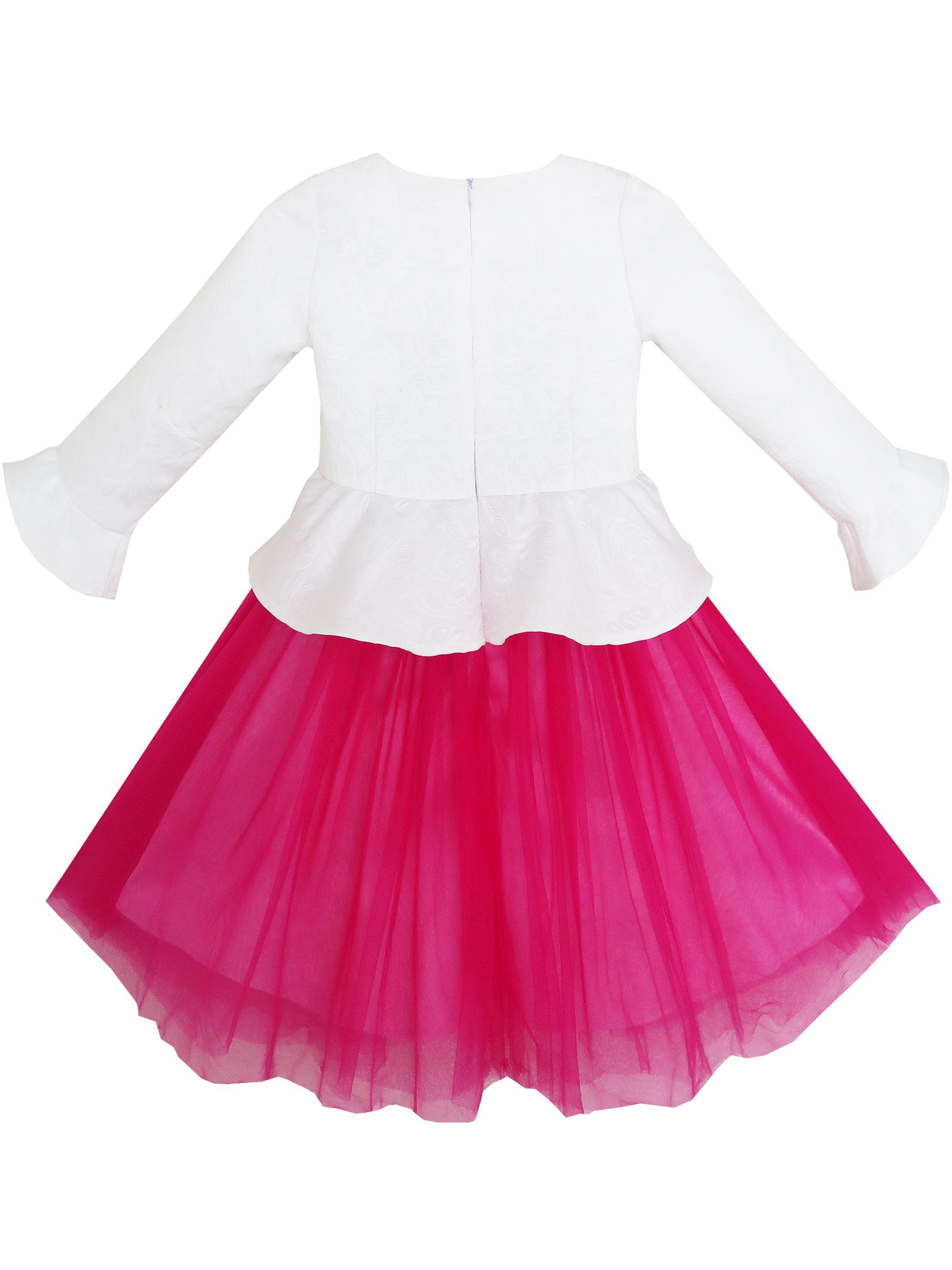 7771bfe997e9 Girls Dress 3 4 Sleeve Floral Flounced Skirt 2-in-1 Set Uniform ...