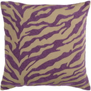 "18"" Purple and Beige Hot Animal Print Decorative Throw Pillow"