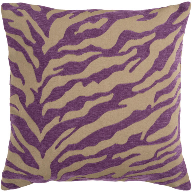 "18"" Purple and Beige Hot Animal Print Decorative Throw Pillow"