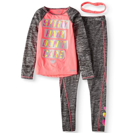 Graphic Long Sleeve Top And Legging, 2-Piece Active Set With Headband (Little Girls & Big - Custom Big Heads