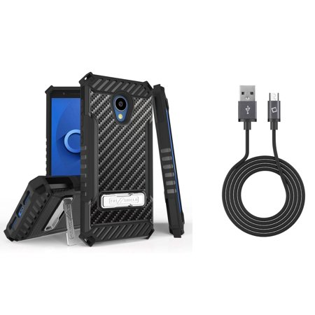 Bemz Accessory Bundle for Alcatel idealXTRA (AT&T) - Tri-Shield Military Grade Kickstand Case (Carbon Fiber) with Cellet 2.0 Micro USB Sync Charging Cable (3.3 Feet) and Atom Cloth