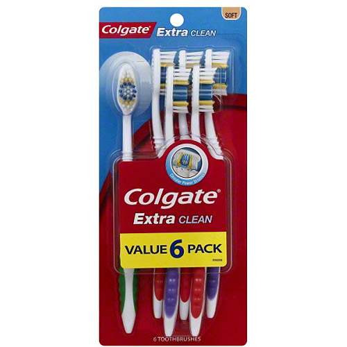 Colgate Extra Clean Soft Manual Toothbrush, 6 count