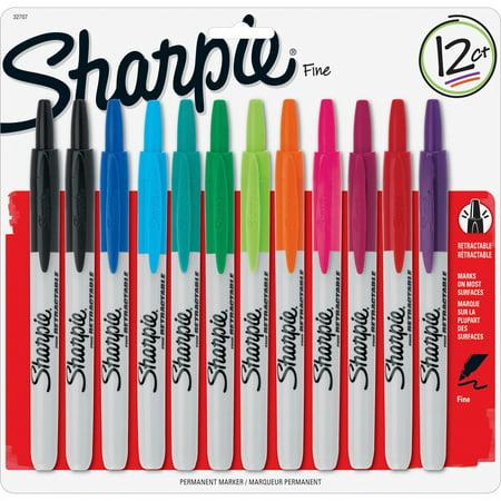 Sharpie, SAN32707, Retractable Fine Point Markers, 12 / Set
