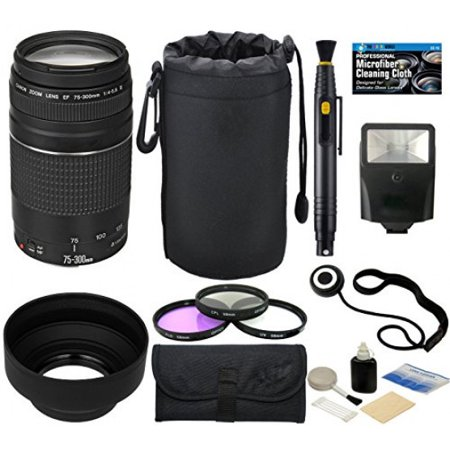 Canon EF 75-300mm f/4-5.6 III Telephoto Zoom Lens for SLR Cameras + Pouch + Hood + Flash + Filter Kit + Accessories (Best Camera Lenses In The World)