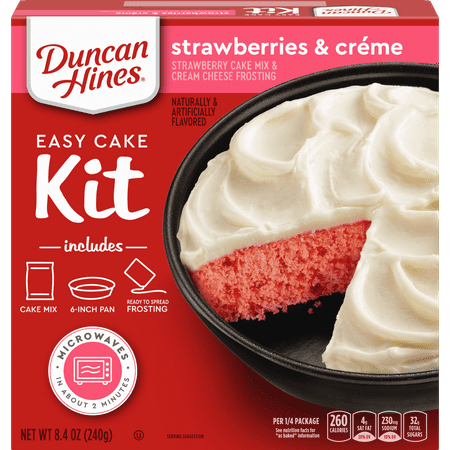 Duncan Hines Easy Cake Kit Strawberries & Creme Cake Mix 8.4 OZ
