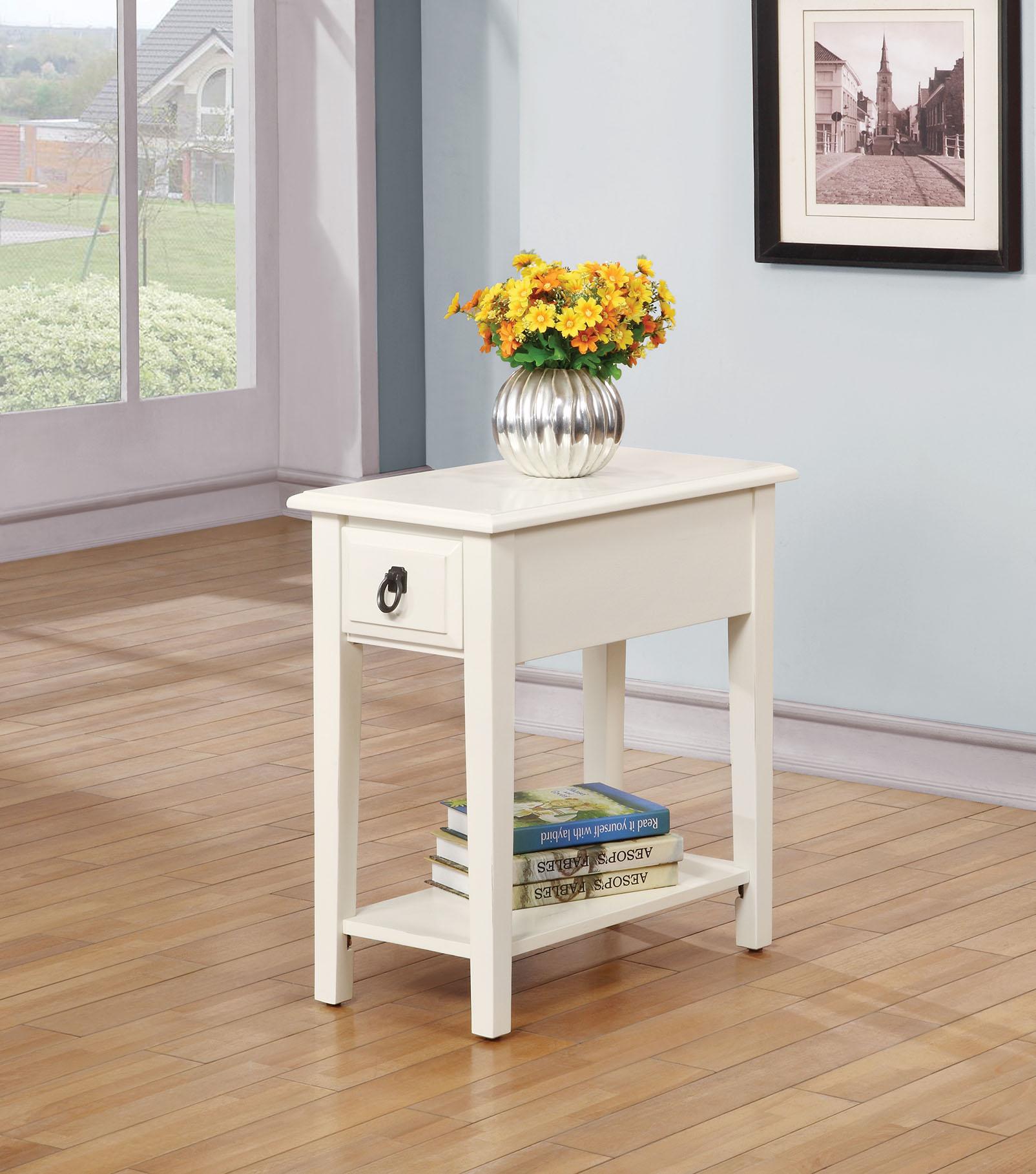 Homeroots furnitureside table white rubber wood ash veneer whitewhite walmart com