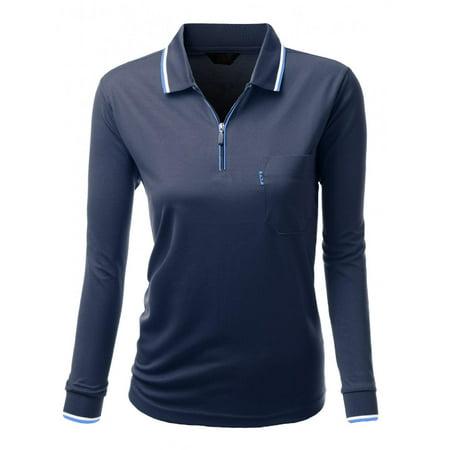 FashionOutfit Women's Basic Style Front Zipper Collar Long Sleeve Polo T-Shirt