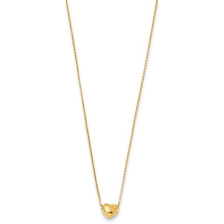 "14kt Gold Heart Charm Necklace, 16"" Chain"