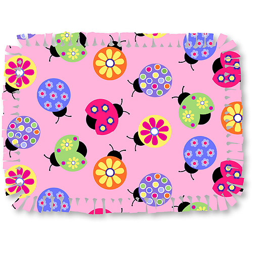 Creative Cuts Microfiber No Sew Throw Fabric Kit, Lady Bugs