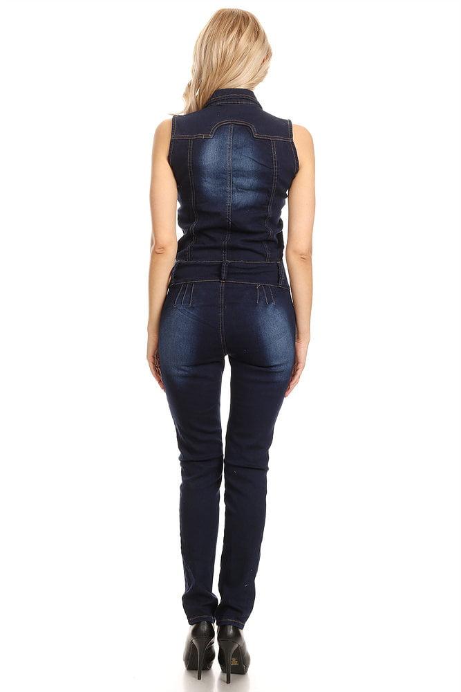 3df452f9df3 Premiere Fashion - 12131 Womens Denim Jumper Super Comfy Stretch Ripped Cut  Out Denim Jumpsuit Overalls S - Walmart.com