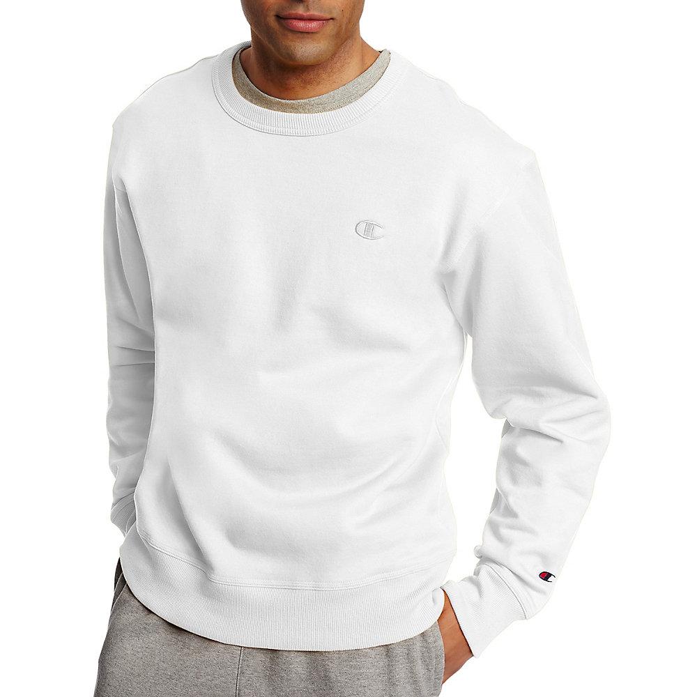Champion Powerblend® Men's Pullover Xl Fleece Crew White JcFK3Tl1